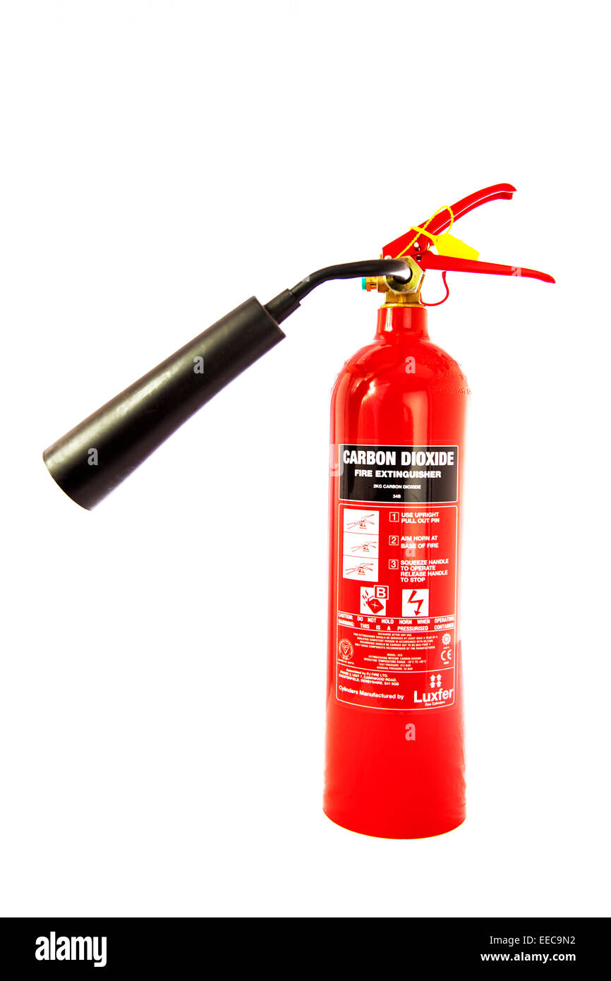 carbon dioxide fire extinguisher gas cylinder dispenser cut out copy space white background - Stock Image