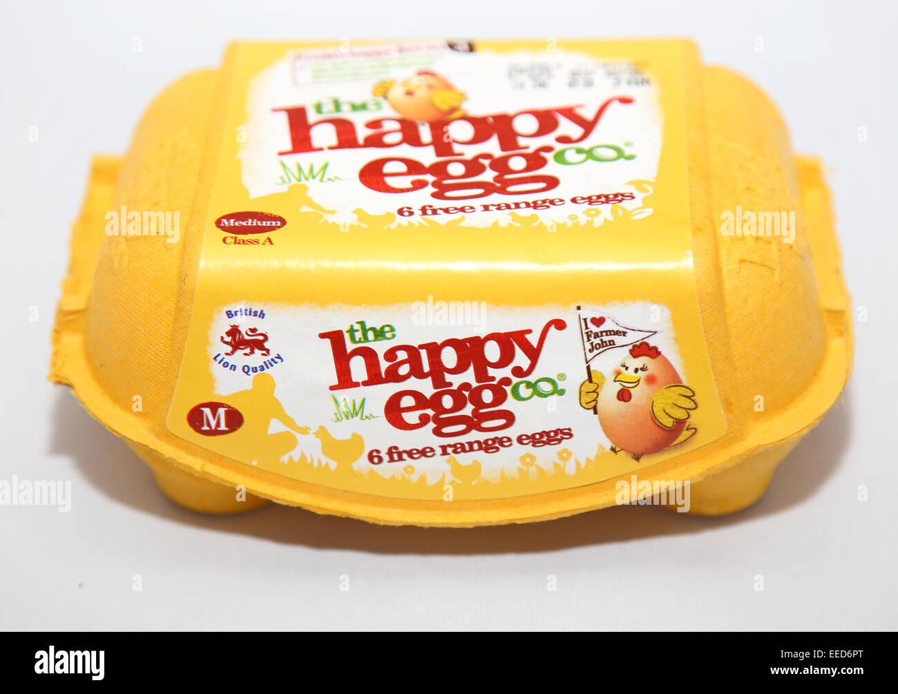 box of happy free range eggs Stock Photo