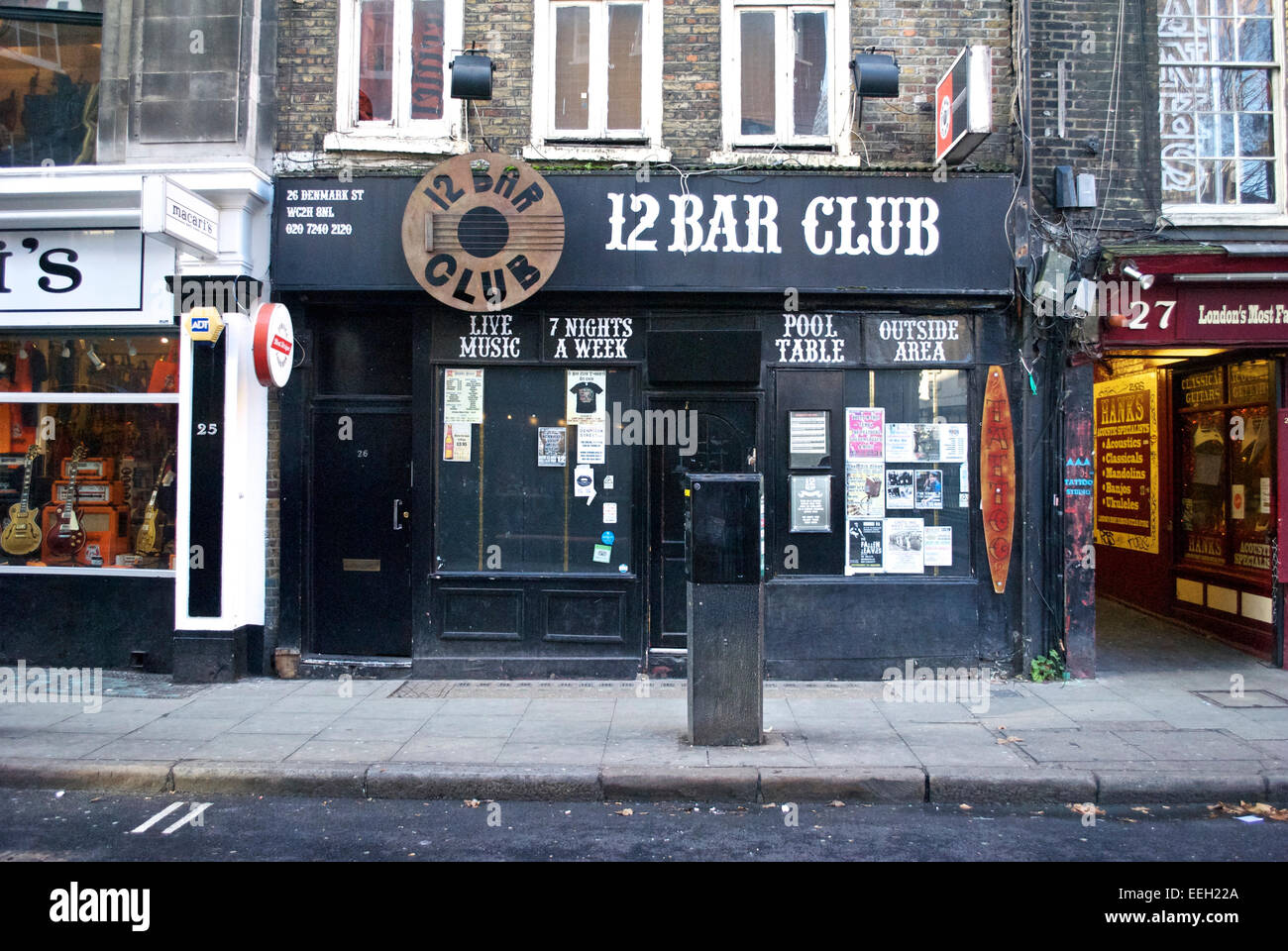 The exterior of the now-defunct 12 Bar Club in Denmark Street, London Stock Photo
