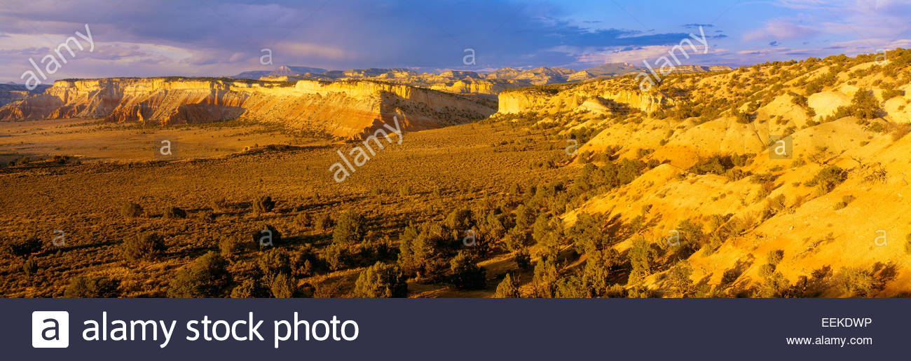 View of mesas and Table Cliff Plateau [Escalante Mountains] in distance. Grand Staircase-Escalante National Monument, - Stock Image