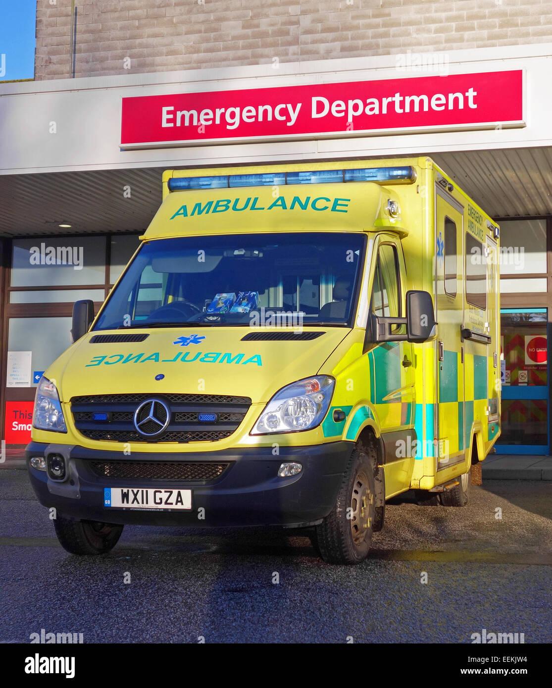 Ambulance parked outside the emergency department of a uk hospital - Stock Image