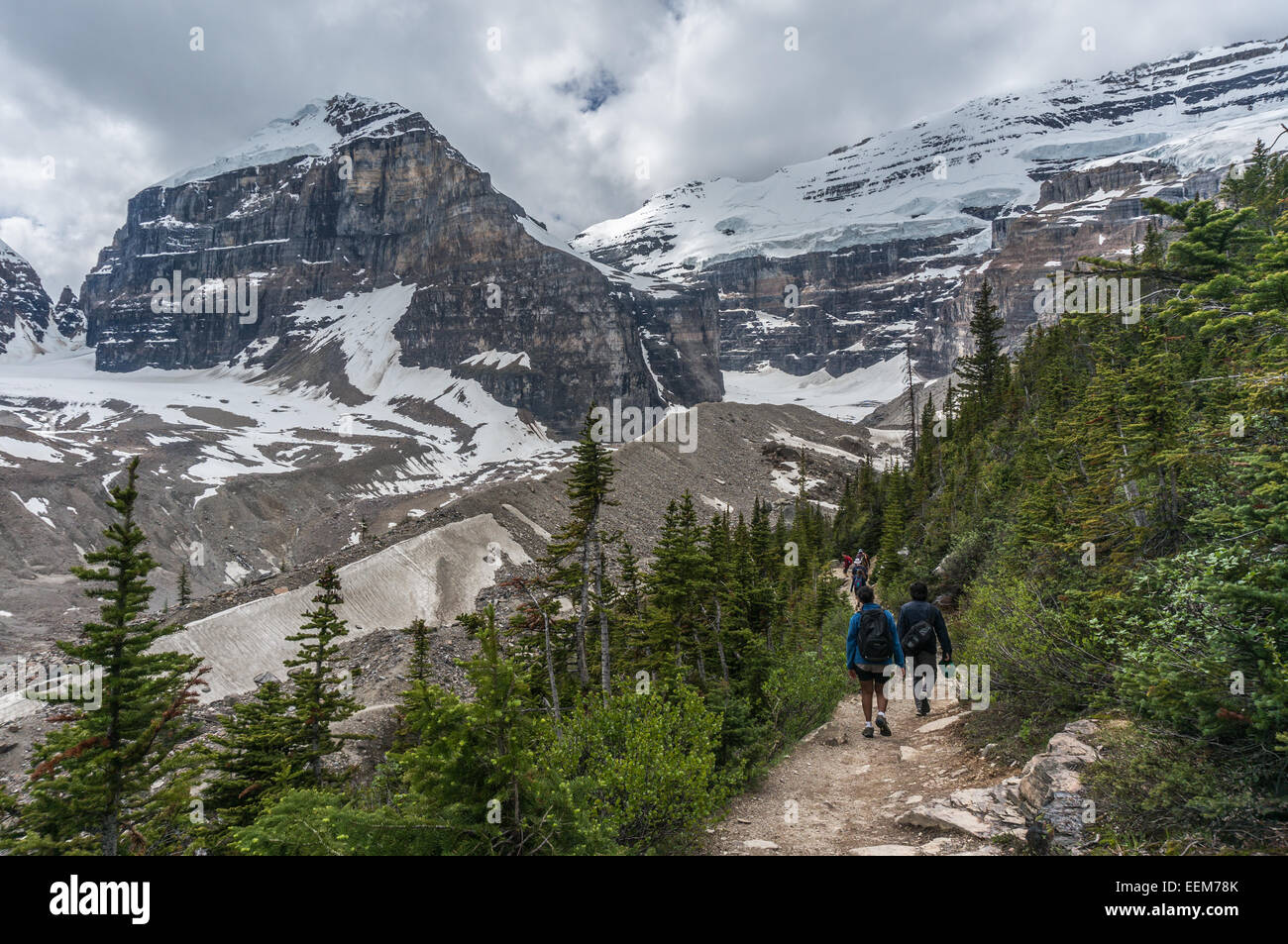 Canada, Banff National Park, Canadian Rockies, Plain of Six Glaciers, Rear view of hikers walking along trail - Stock Image