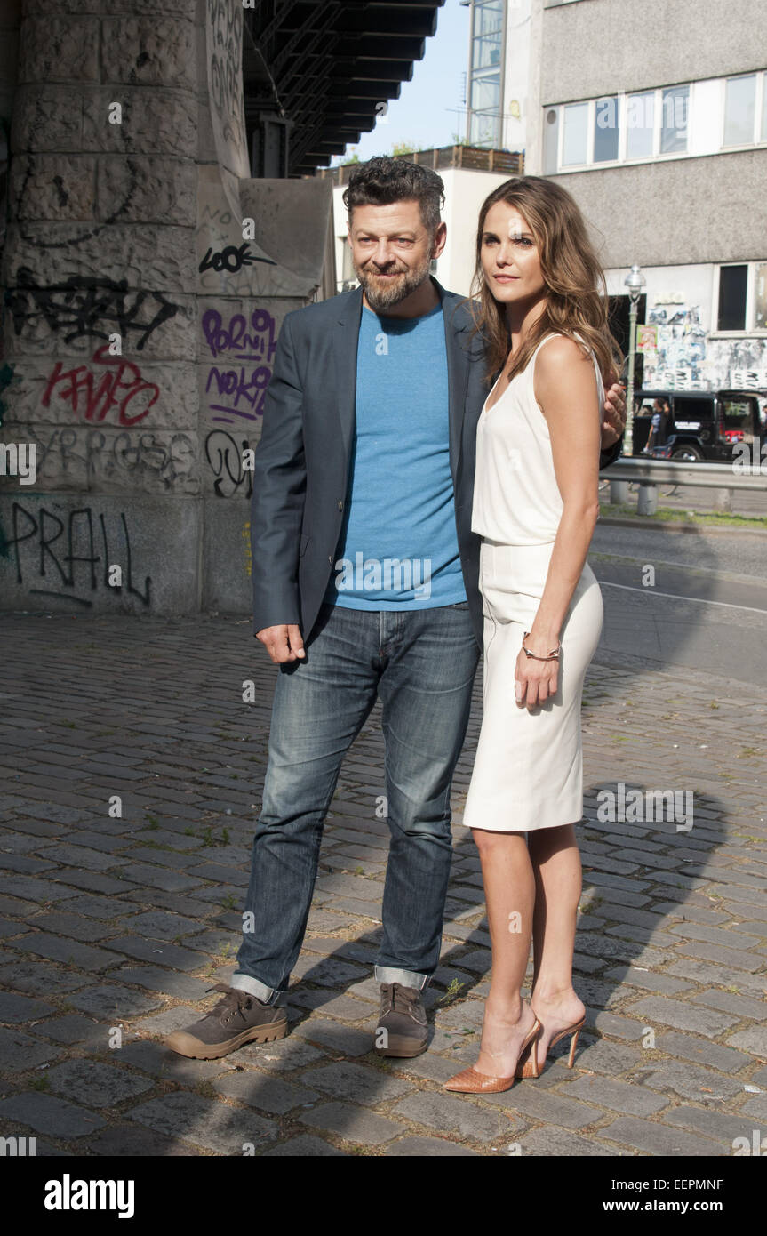 The cast of 'Dawn Of The Planet Of The Apes' promoting their movie underneath Oberbaumbruecke in Berlin - Stock Image