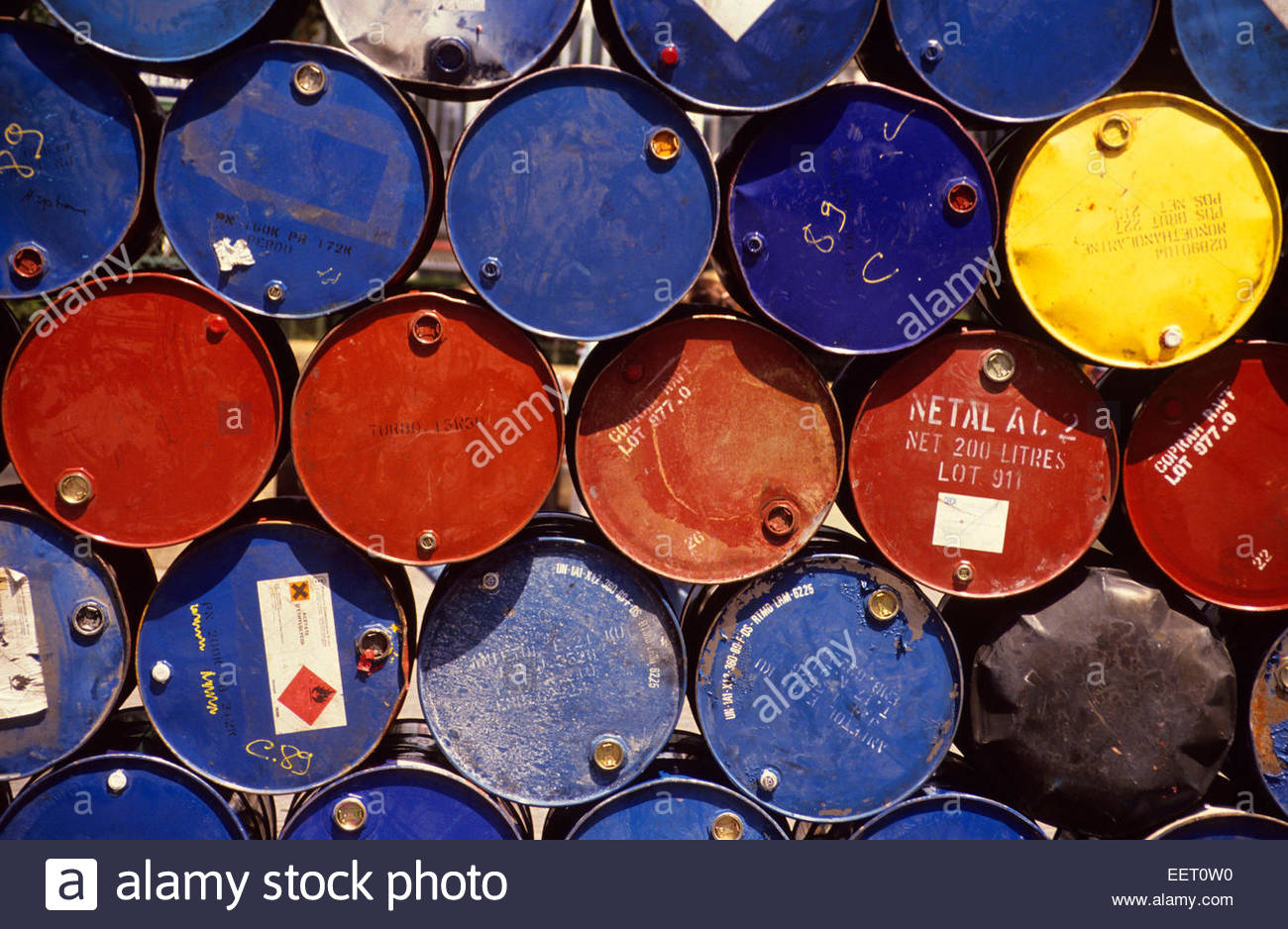 Pollution. Storage of barrils. - Stock Image