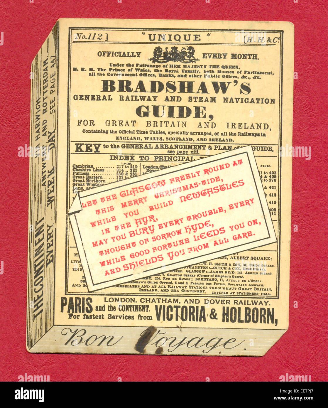 victorian greeting card as bradshaw s railway guide stock photo rh alamy com bradshaw's railway guide 1913 bradshaw railway guide first edition