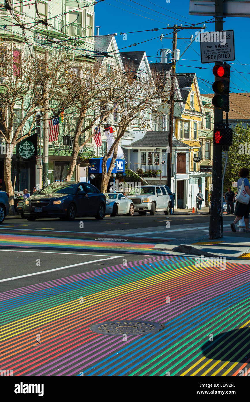 pedestrian crossing with rainbow flag colors strips in castro street