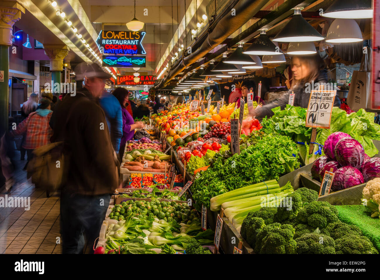 Fruit and vegetable stall at Pike Place Market, Seattle, Washington, USA - Stock Image