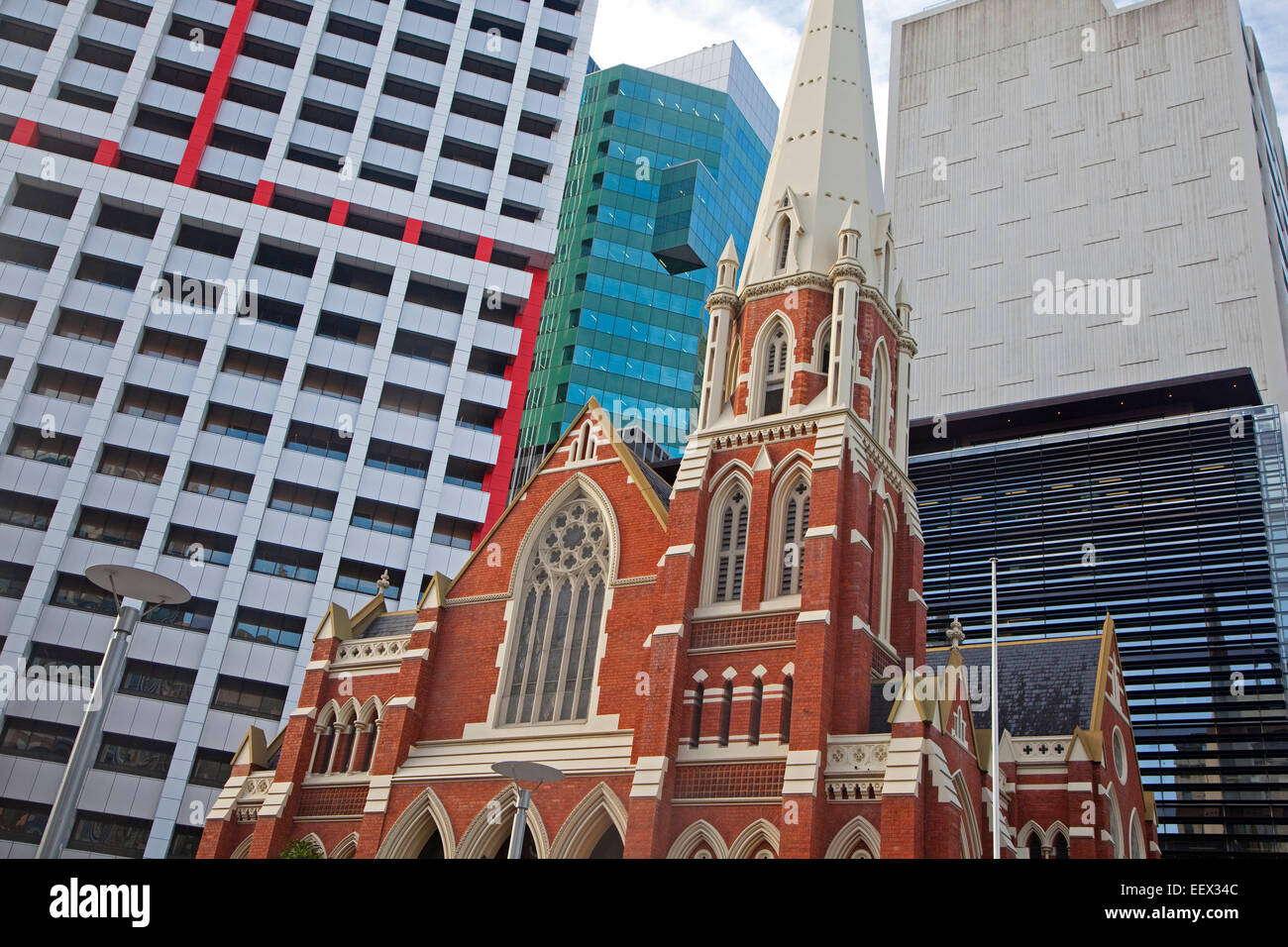 Albert Street Uniting Church, former Methodist Wesleyan Chapel in the center of Brisbane, capital city of Queensland, - Stock Image