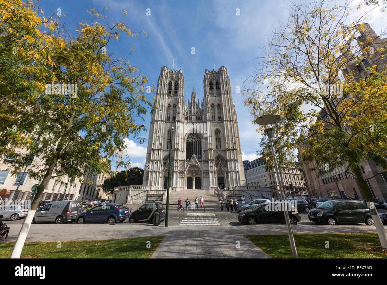 Cathedral Saints Michel et Gudule, Brussels Stock Photo