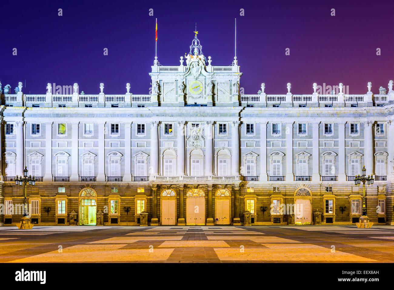 Madrid, Spain at the Royal Palace at night. - Stock Image