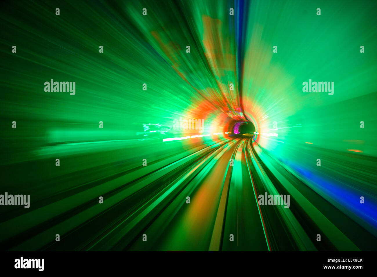 Motion blur in the Shanghai Sightseeing Tunnel. - Stock Image