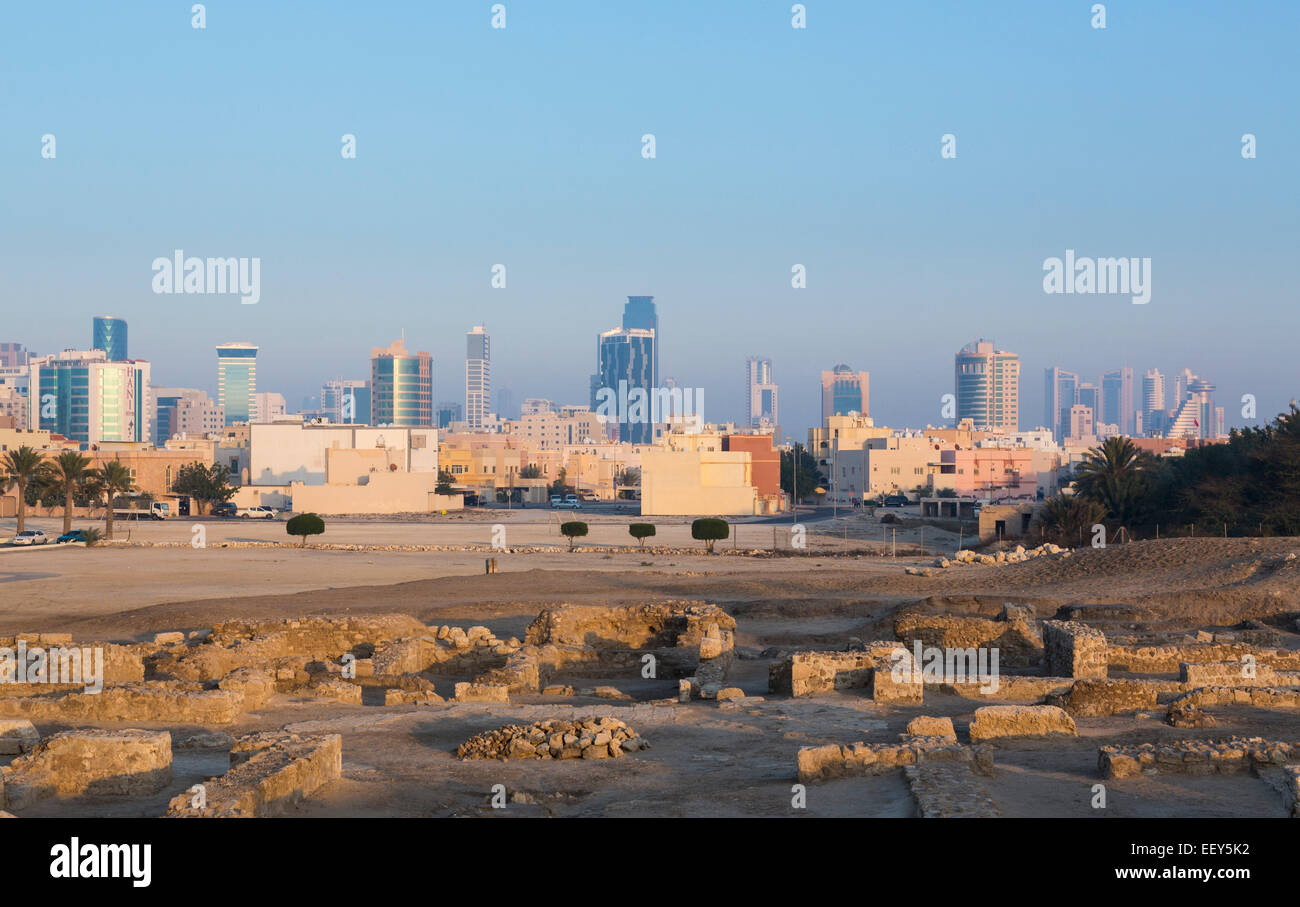 Ruins around the reconstructed Bahrain Fort near Manama at Seef, Bahrain - Stock Image