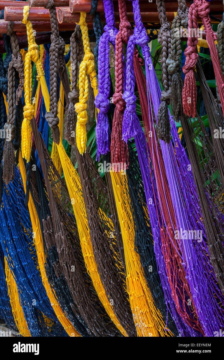 Mayan Hammocks, Xel Ha, Riviera Maya, Yucatan, Mexico. - Stock Image