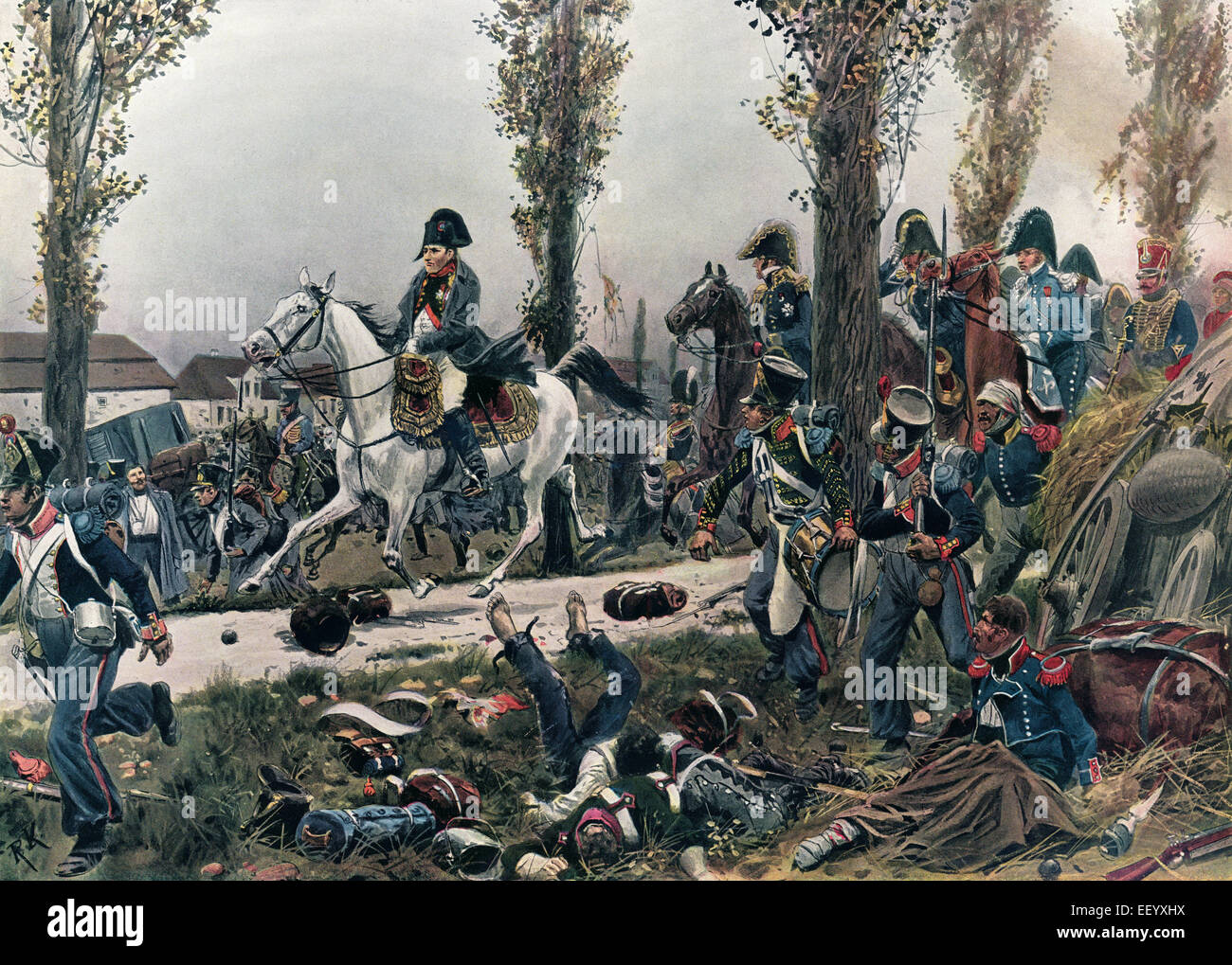 Emperor Napoleon I Bonaparte flees Leipzig on 19 October 1813 after the defeat at the Battle of Leipzig, Battle - Stock Image