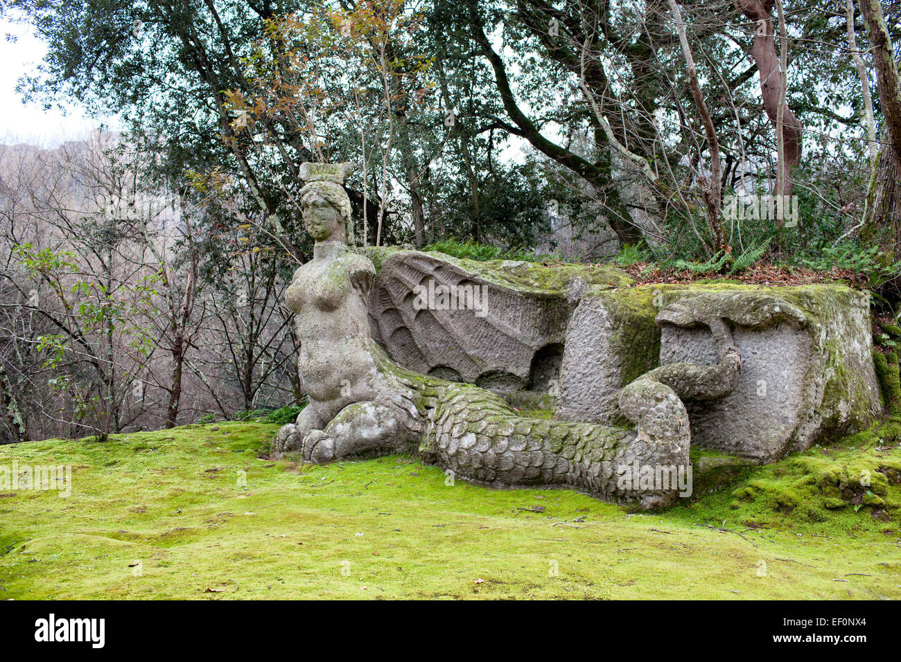 Statue Of Fury, The Park Of Monsters, Bomarzo, Italy - Stock Image