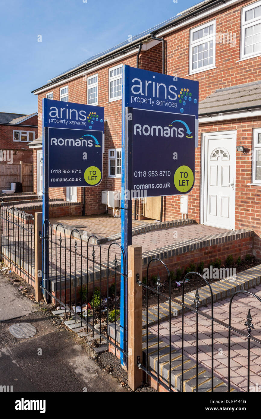 New housing with 'to let' signs. Stock Photo