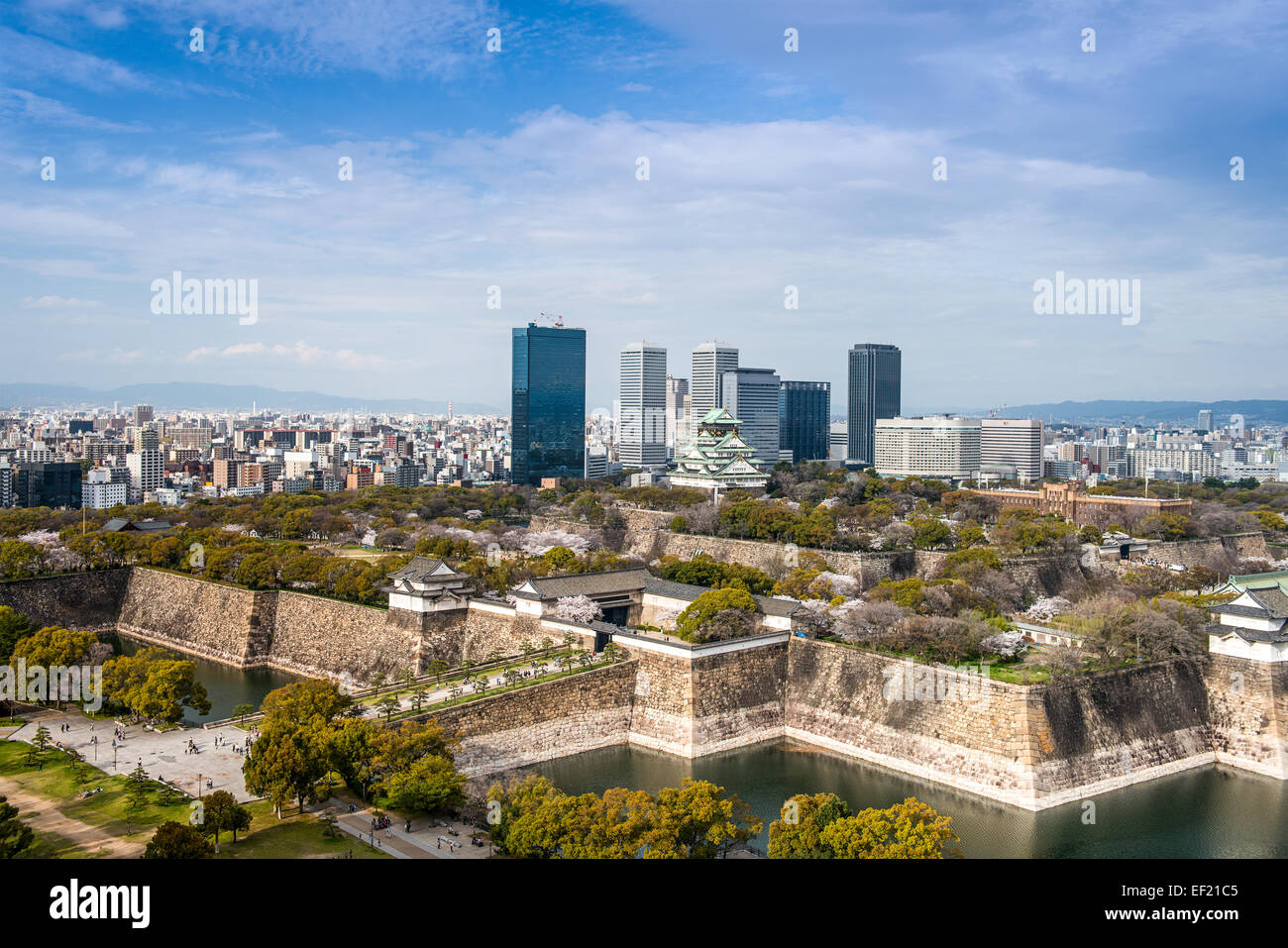 Osaka, Japan city skyline at the castle and business park. - Stock Image
