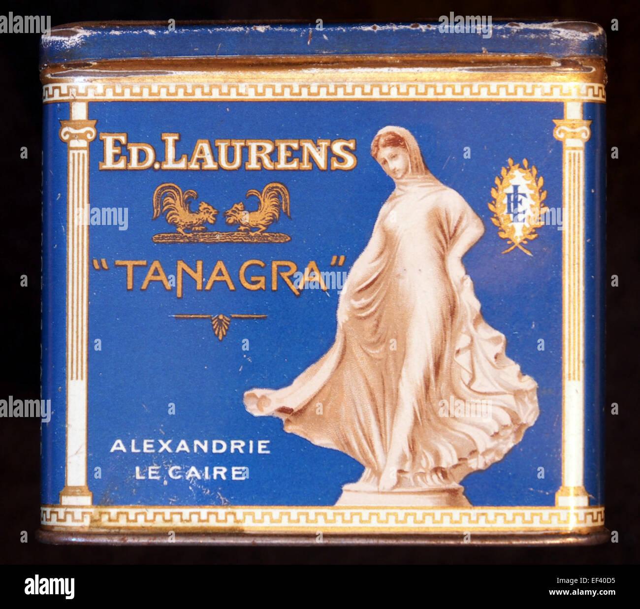Tanagra cigarettes tin, front Stock Photo