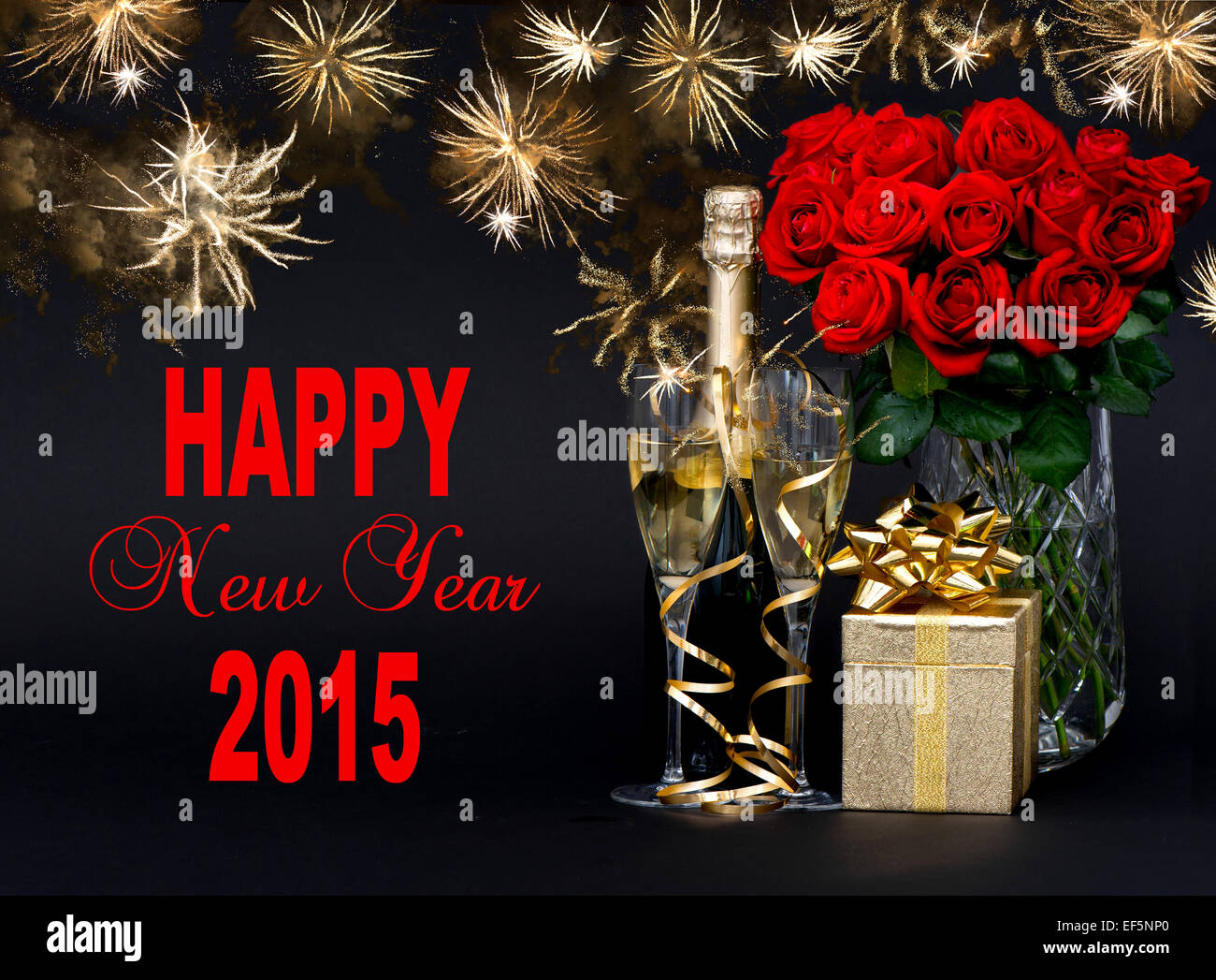 Happy New Year 2015 Card Concept Red Roses Bottle Of Champagne