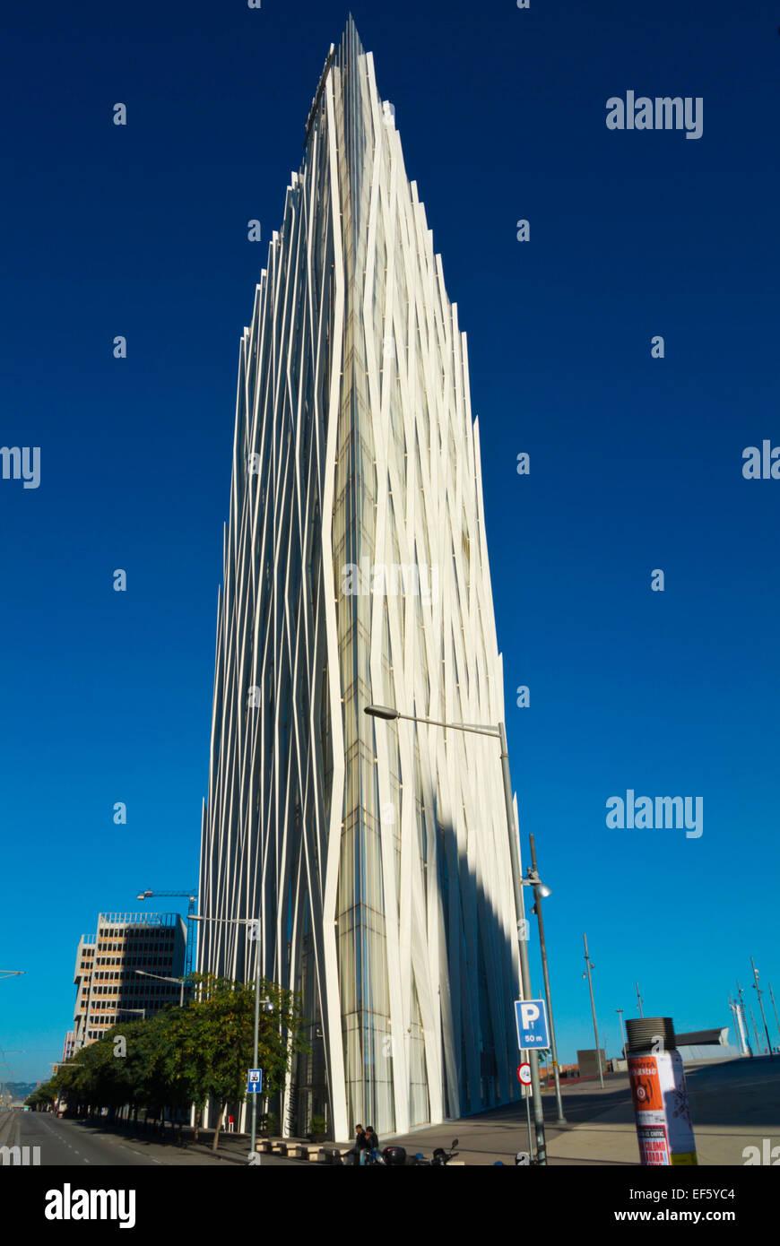 Torre Diagonal Zero Zero building, Forum area, Diagonal Mar, Sant Marti district, Barcelona, Spain - Stock Image