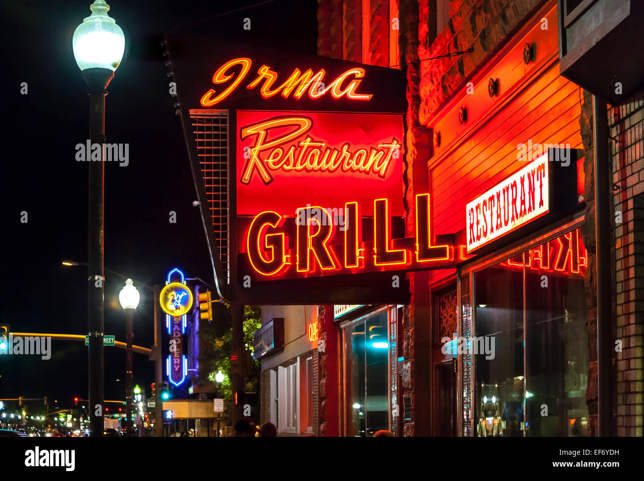 Irma Hotel Restaurant Grill in Cody Wyoming. Vintage Neon Sign. Stock Photo
