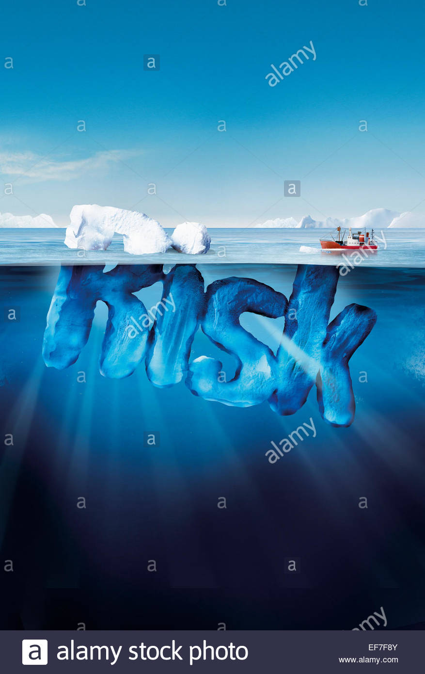 Boat approaching dangerous risk iceberg - Stock Image