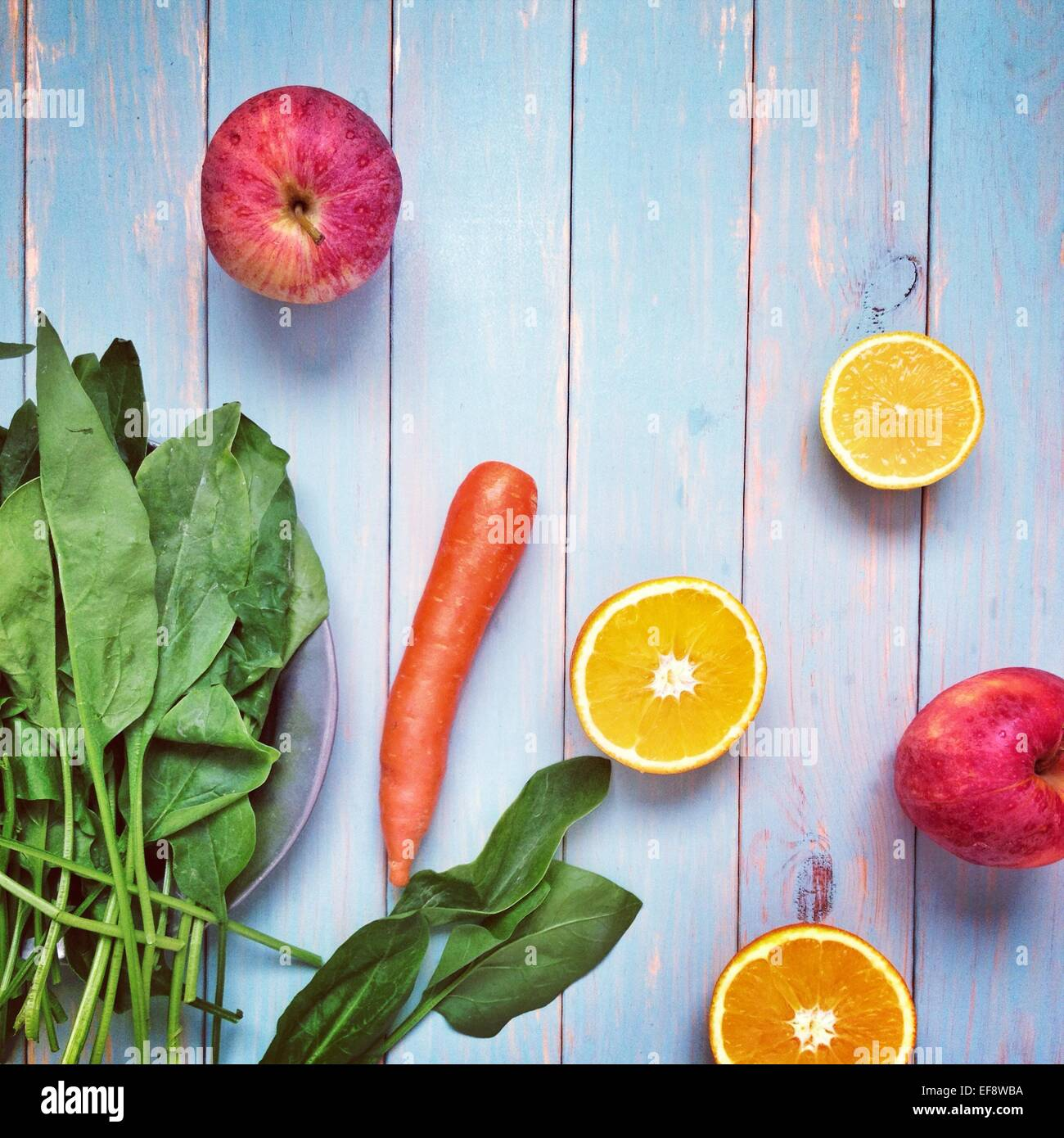 Arrangement of various fruits and vegetables - Stock Image
