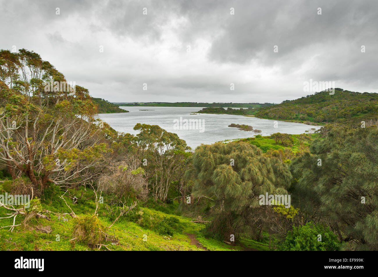 Dark clouds over Tower Hill National Park. Stock Photo