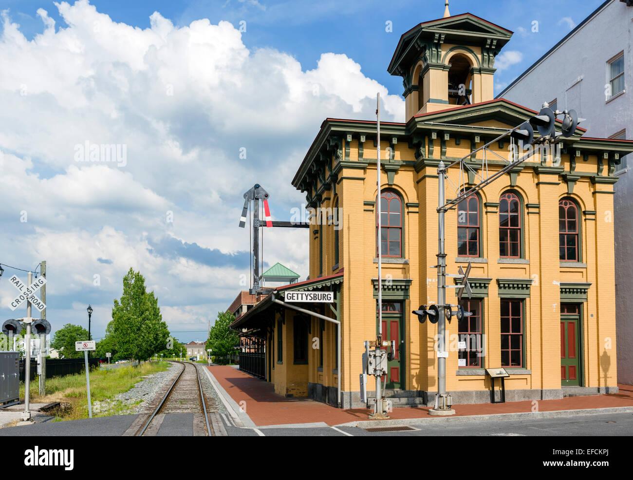 Historic Gettysburg Train Station in downtown Gettysburg, Adams County, Pennsylvania, USA - Stock Image