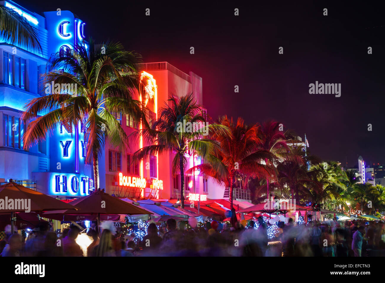Miami Beach Florida Art Deco District Ocean Drive New Years Eve Night Nightlife Colony Hotel Boulevard Neon Sign
