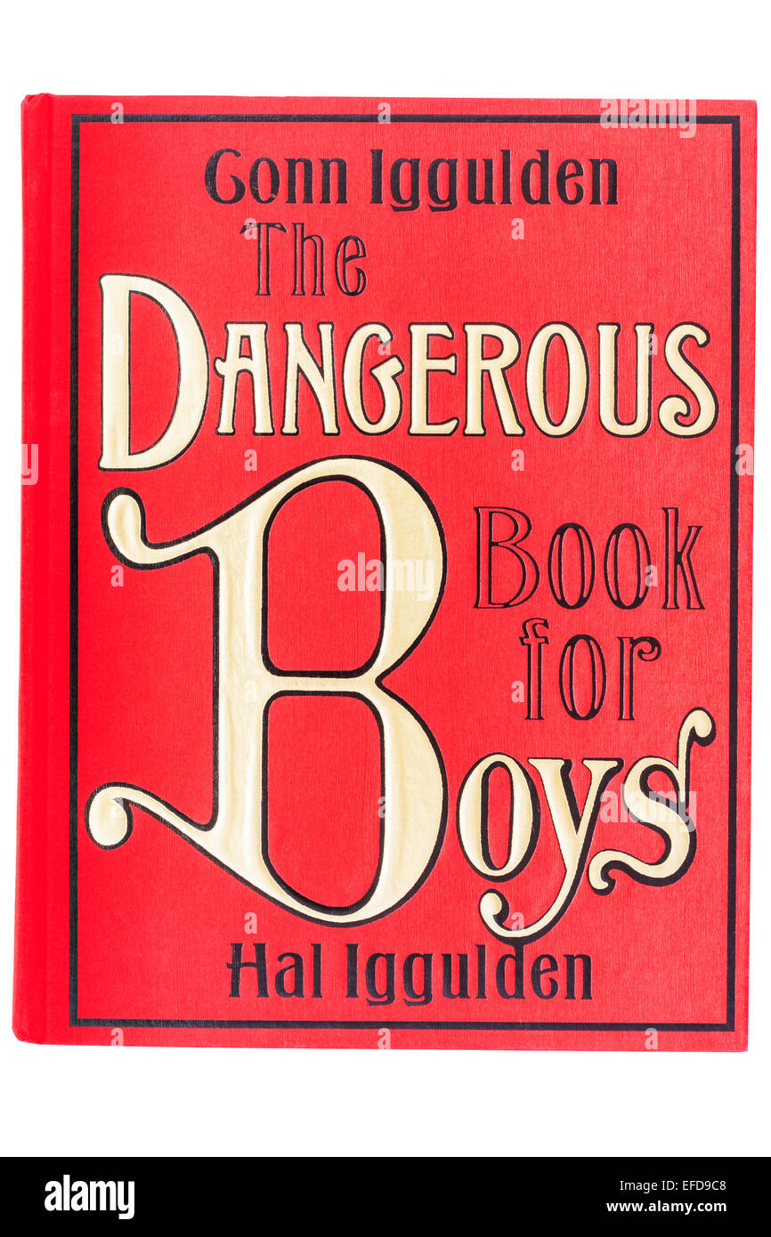 The book called The Dangerous Book for Boys on a white background - Stock Image