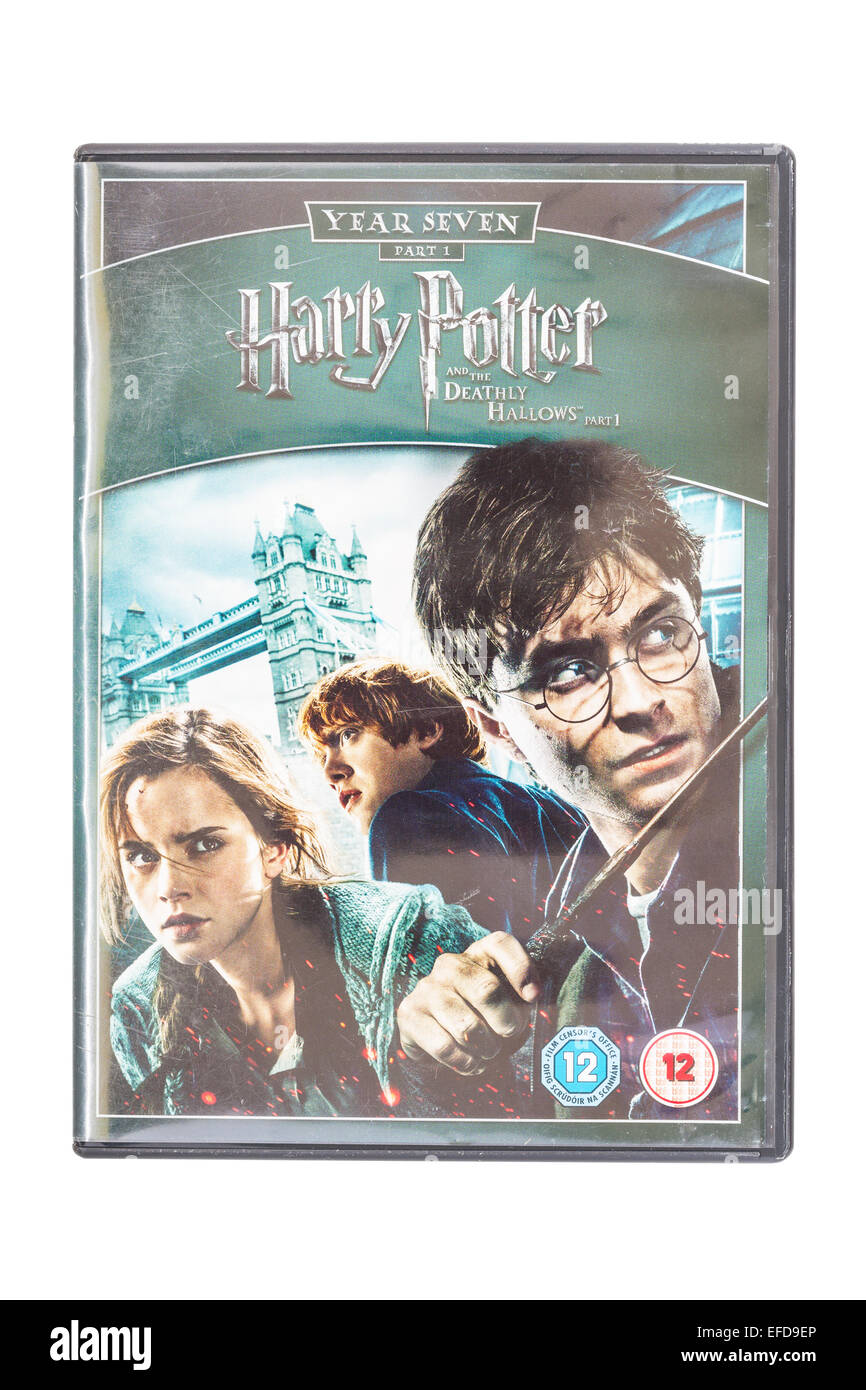Harry Potter and the deathly hallows the film DVD on a white background - Stock Image