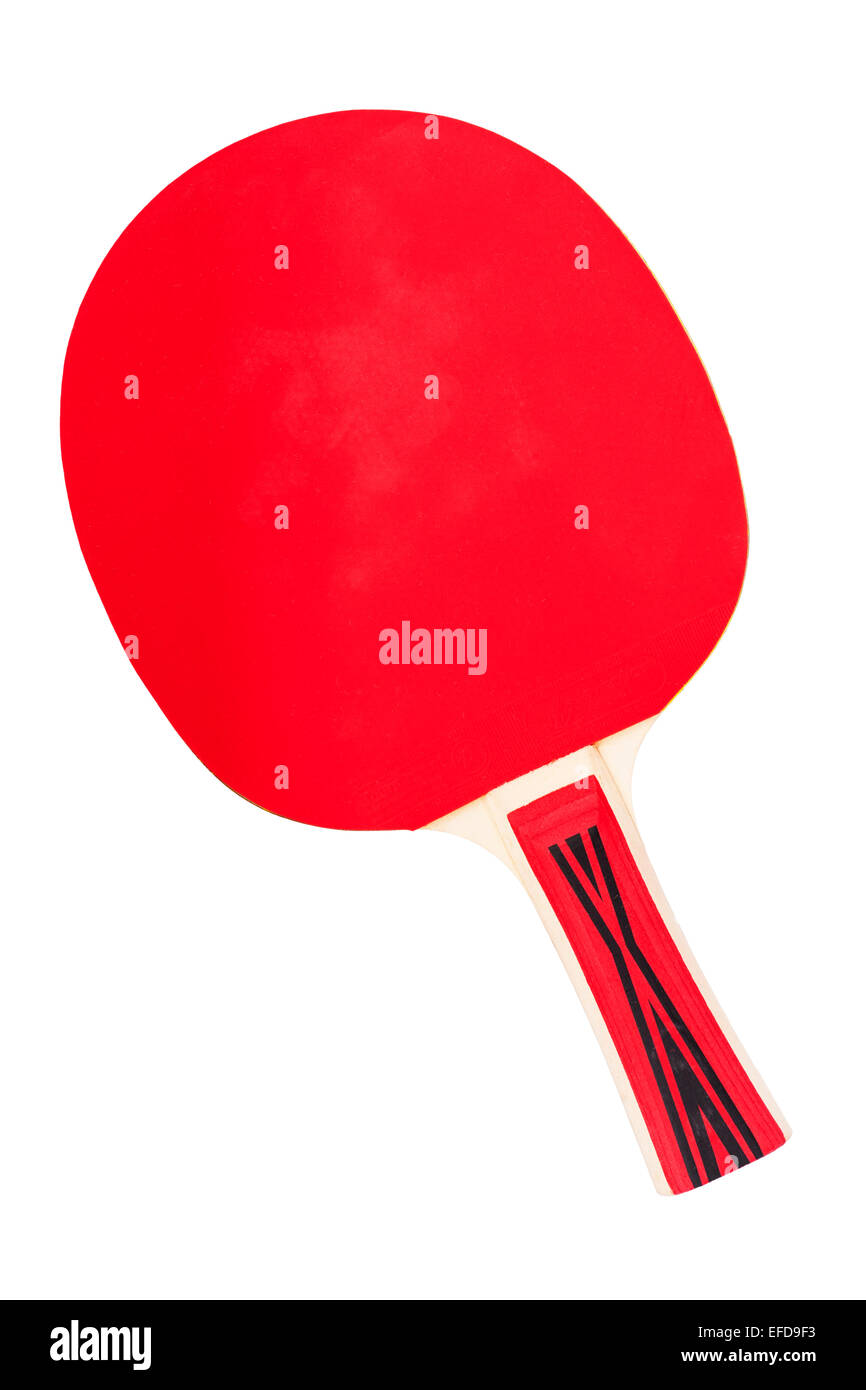 A Table Tennis bat on a white background - Stock Image