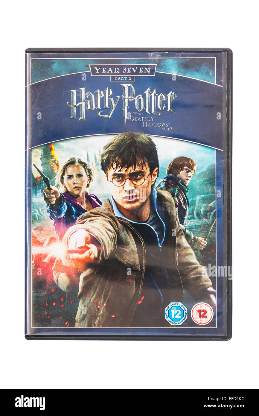 Harry Potter and the Deathly Hallows part 2 film DVD on a white background - Stock Image