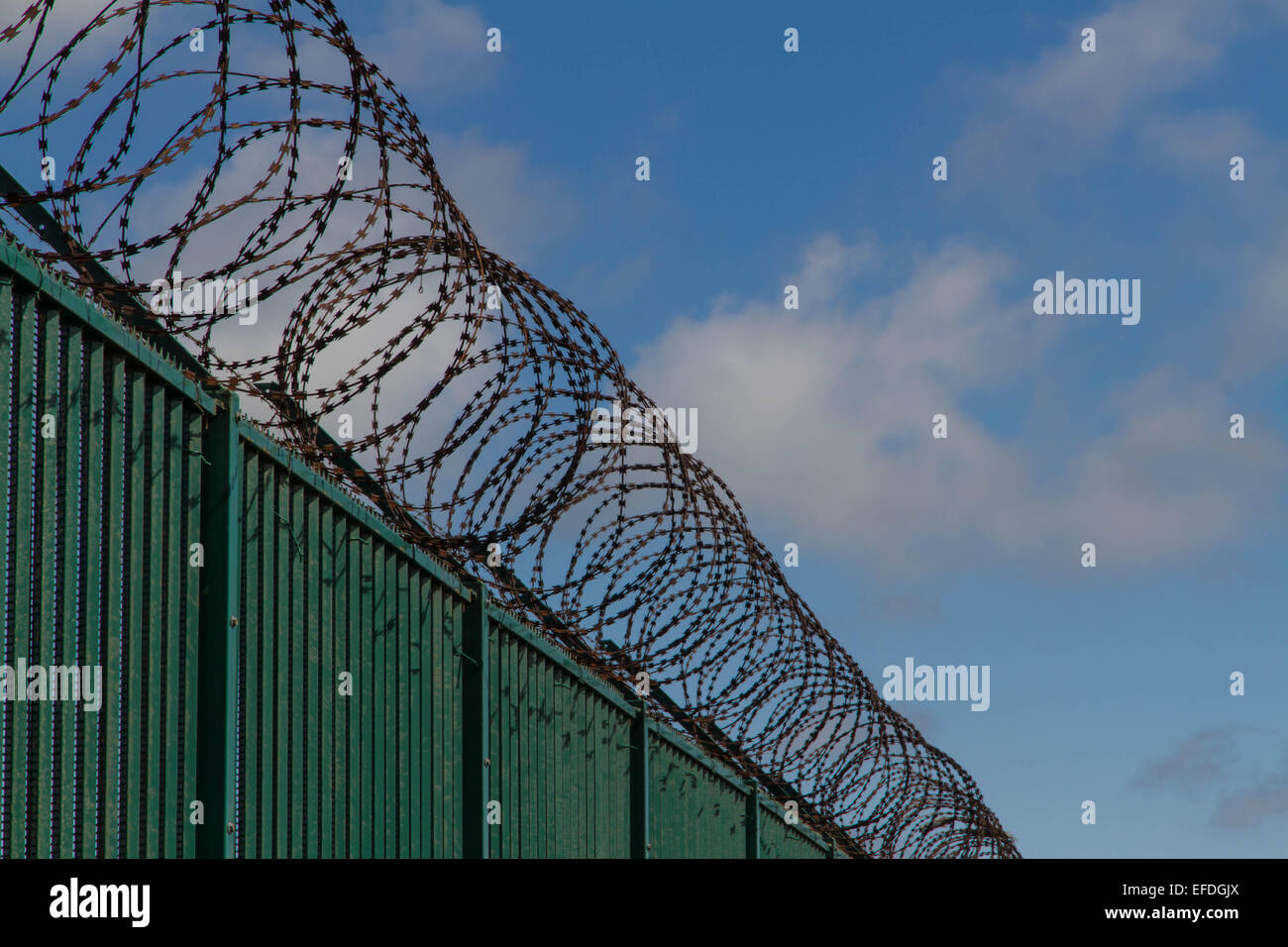 Boundary area of ferry terminal. Fence and Razor wire. Dunkirk Stock ...