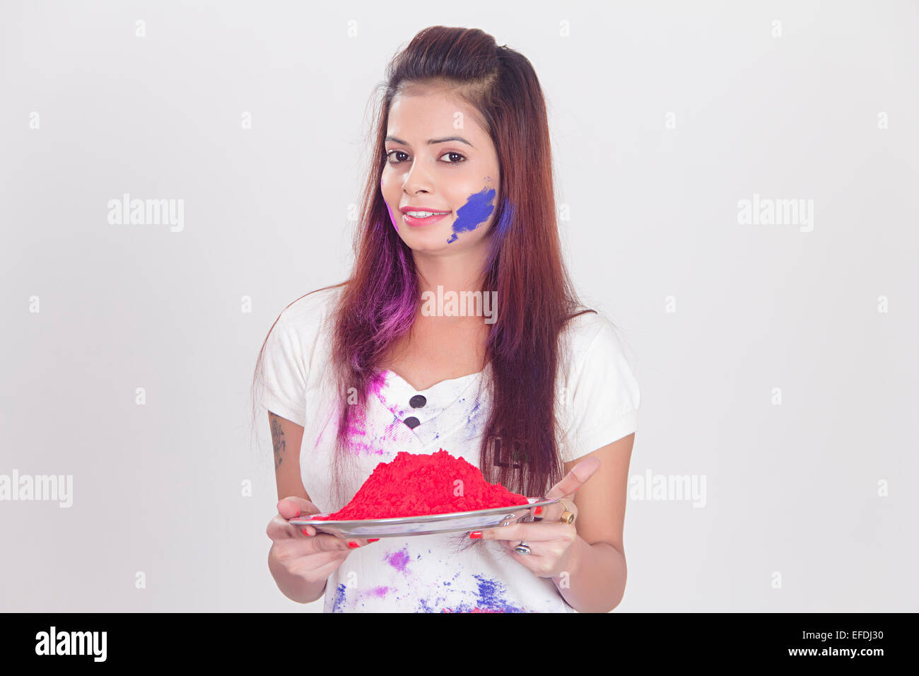 1 Indian Lady Holi Festival Greeting Stock Photo 78360884 Alamy