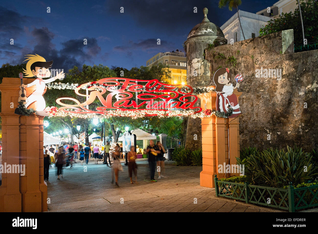 Paseo De La Princesa in Old San Juan at Night During the Christmas Holidays, Puerto Rico - Stock Image
