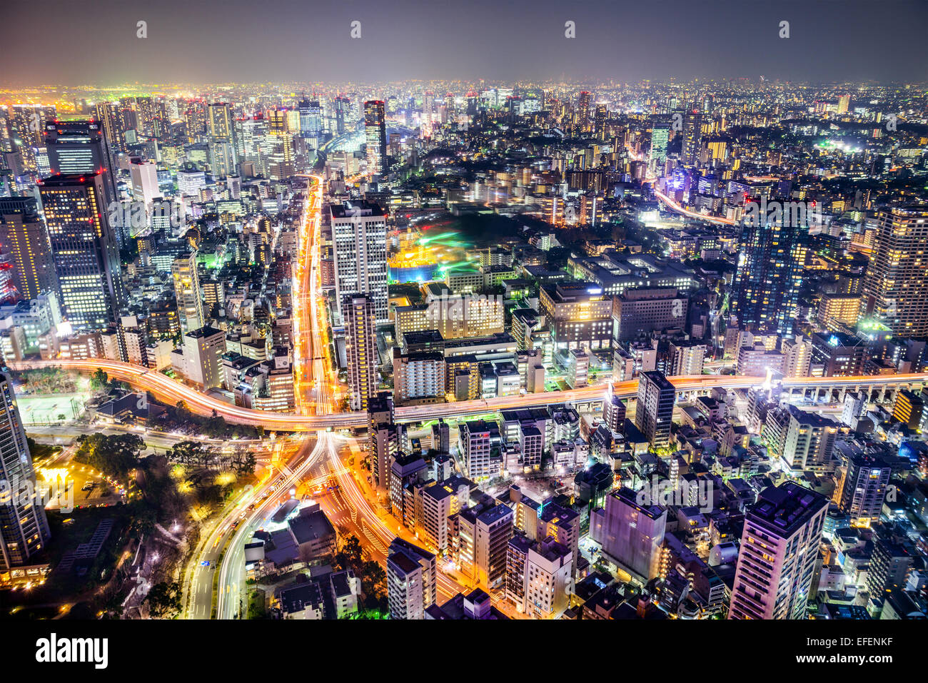 Tokyo, Japan cityscape and highways. - Stock Image