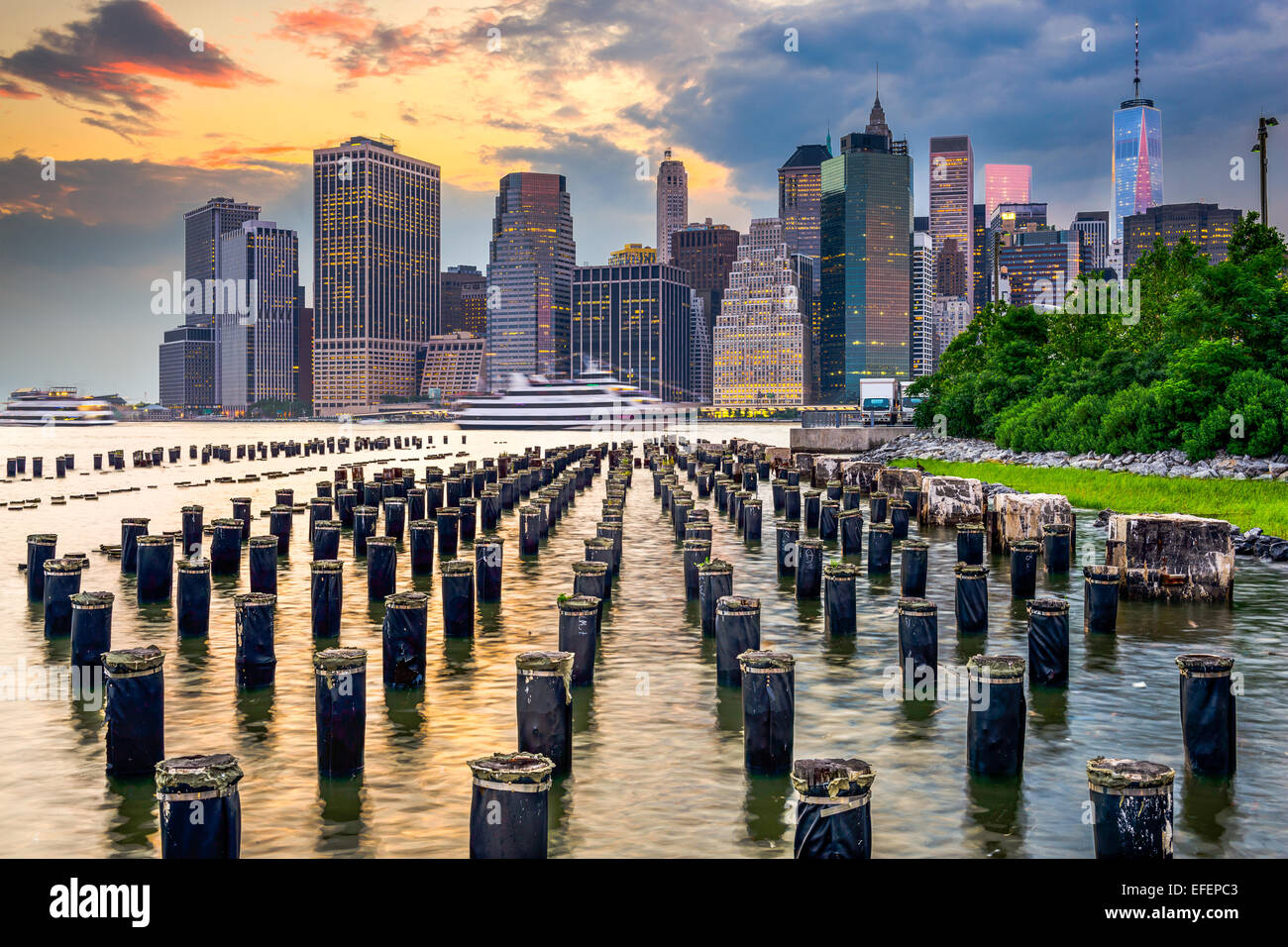 New York City, USA city skyline on the East River. - Stock Image