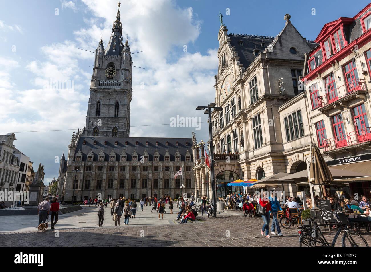 Sint-Baafsplein square with the Het Belfort Stock Photo