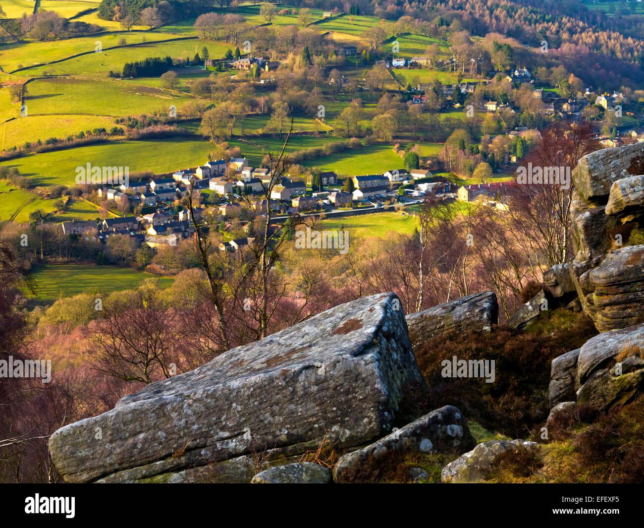 View from Froggatt Edge towards Grindleford village Peak District National Park Derbyshire England UK with rocks - Stock Image