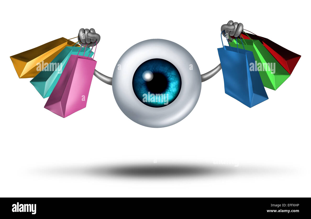 Consumer trends and shopping research and fashion trends follower concept as a human eyeball character holding shop - Stock Image