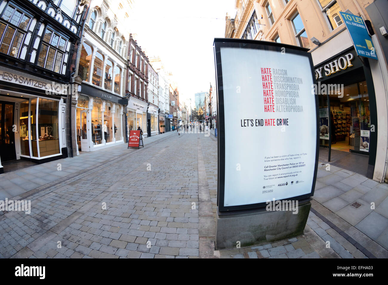 Illuminated sign against 'hate rimes' in King Street, Manchester. - Stock Image