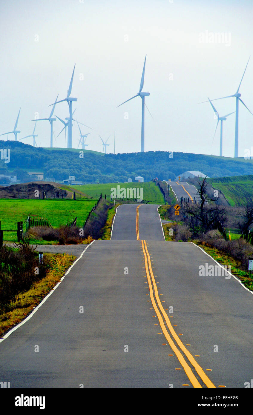 winding road leads to power windmills in Rio Vista California Stock Photo