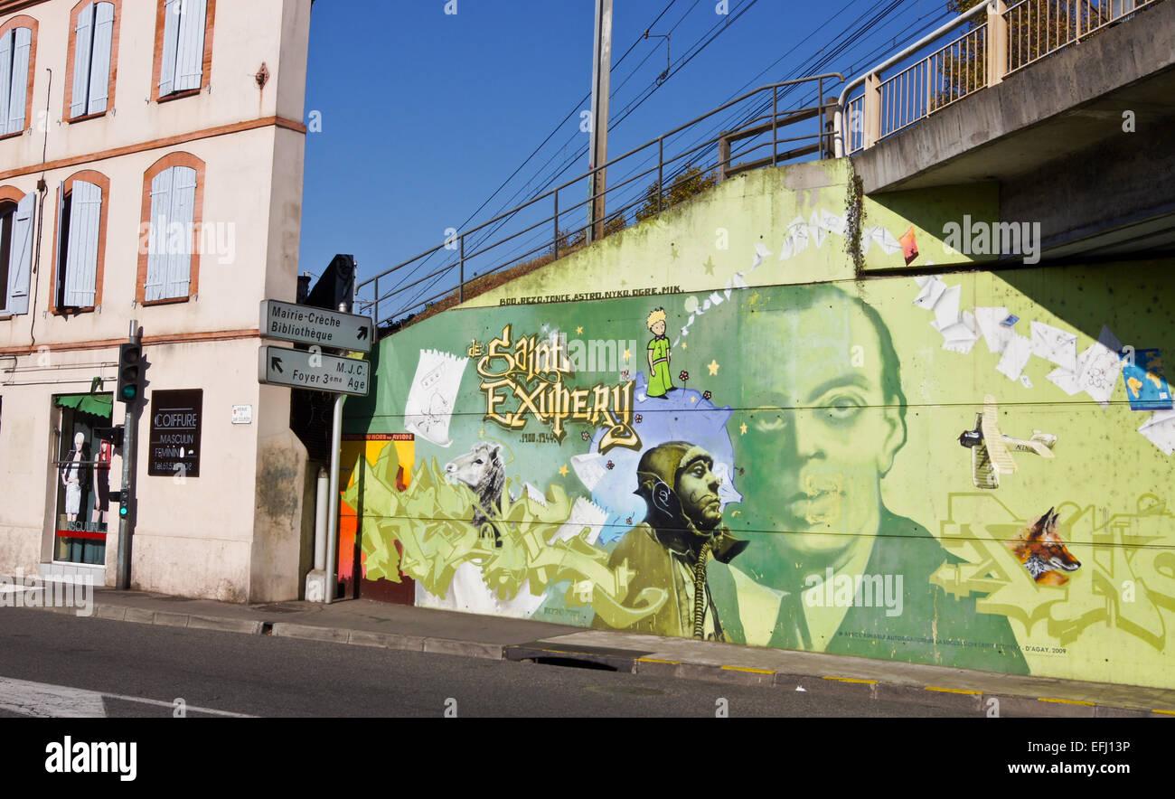 Street painting of Antoine de Saint-Exupéry on underpass, Avenue Saint-Exupéry,Toulouse, Haute-Garonne, Midi- Pyréneés, Stock Photo