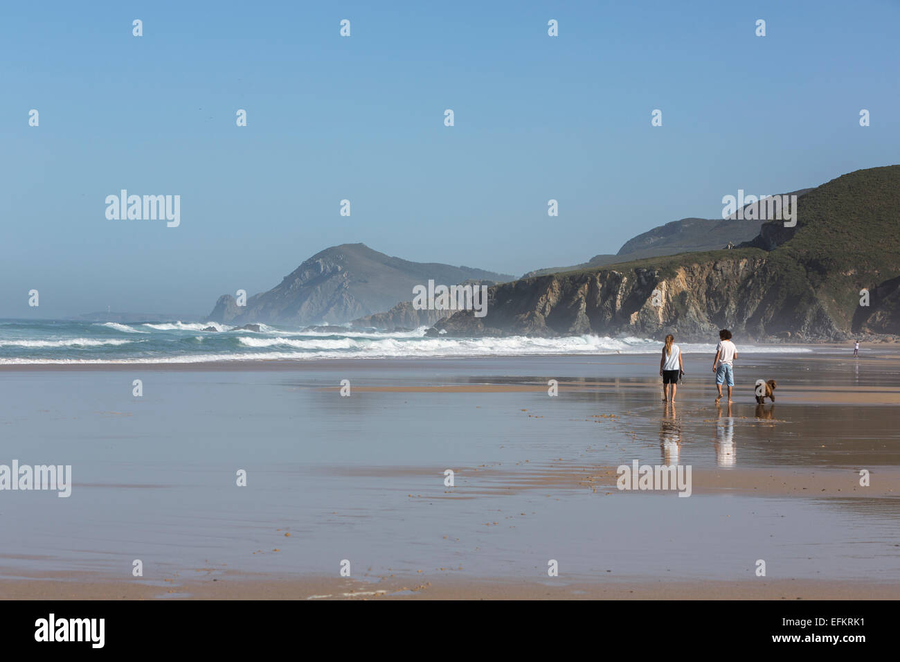 couple-walking-with-his-dog-in-playa-de-