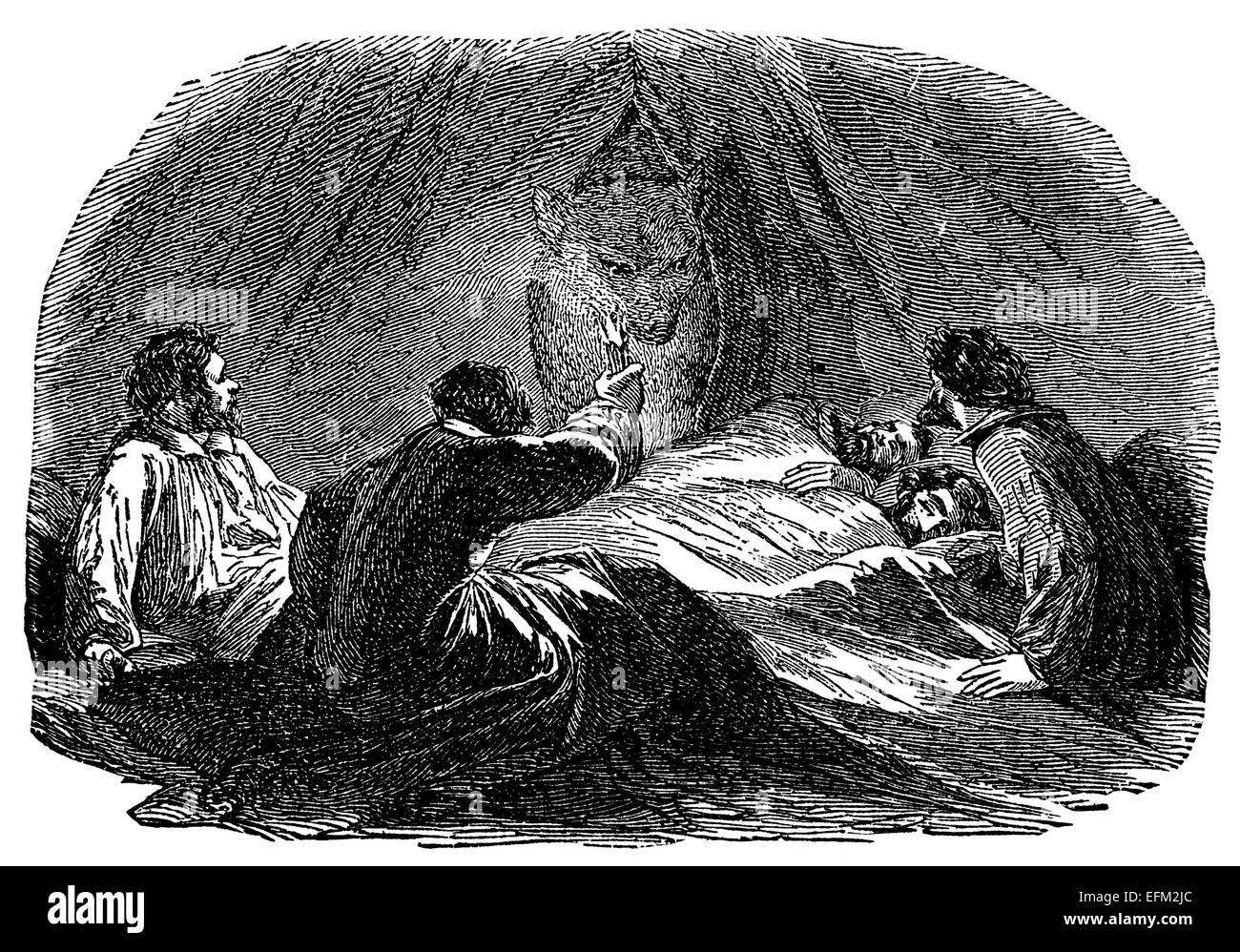 19th Century Engraving Of A Polar Bear Entering A Tent With People