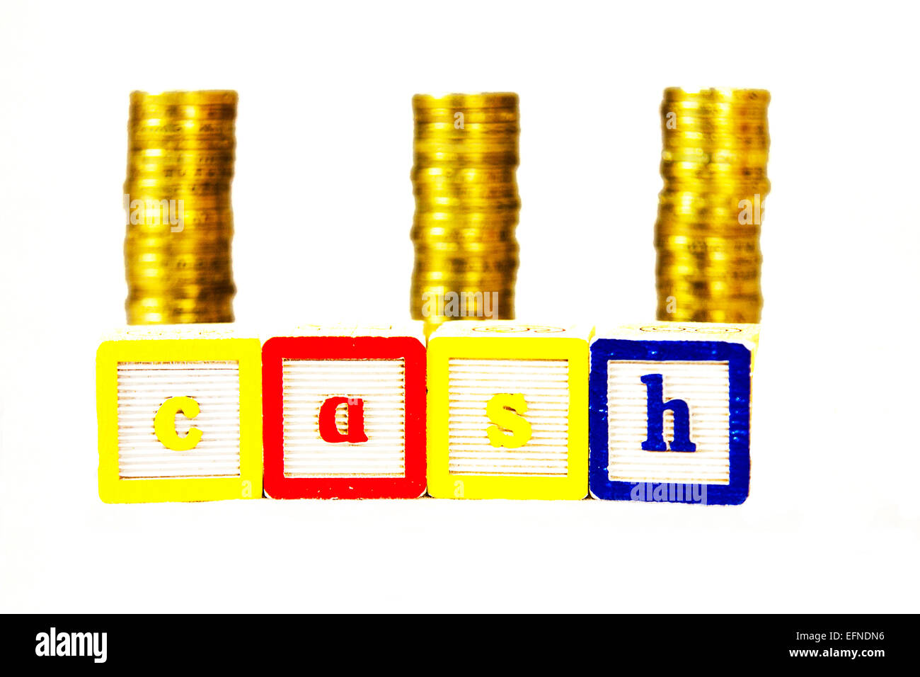 cash money coins pound pounds dosh rich wealthy bills pay payment invest  investment cut out copy space white background - Stock Image