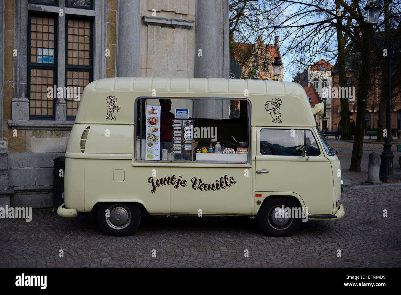 Jantje Vanille Street Food Truck, Brugge, Belgium - Stock Image