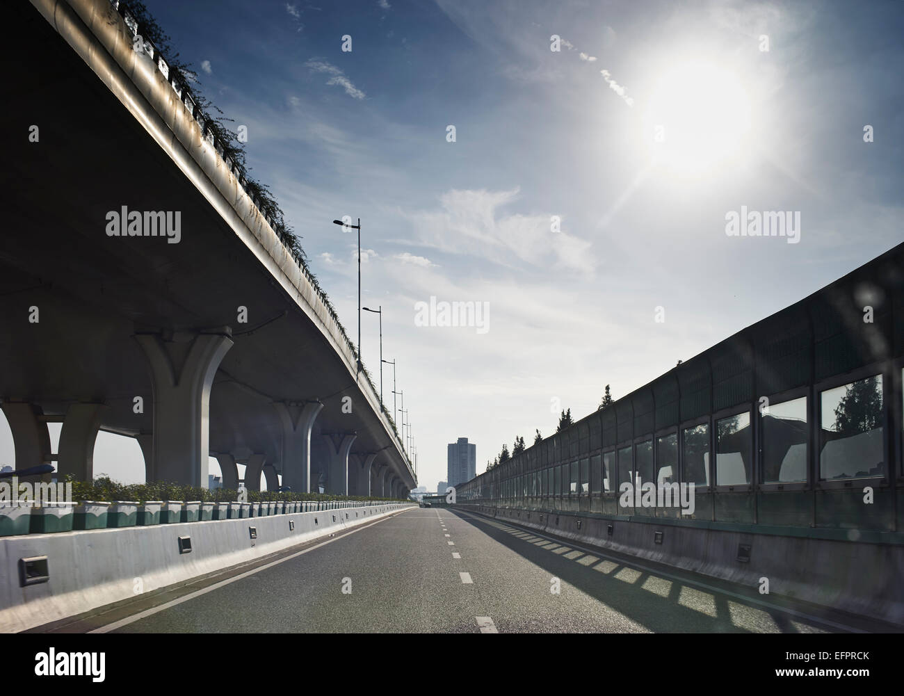 Empty highway and flyover, Shanghai, China - Stock Image